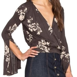 Free People Fiona Wrap Bell Sleeve Blue Floral Top